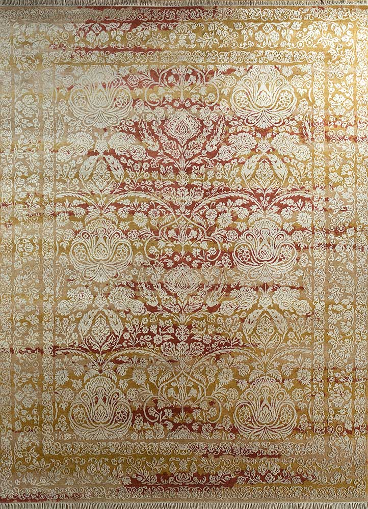 biscayne beige and brown wool and bamboo silk hand knotted Rug - HeadShot