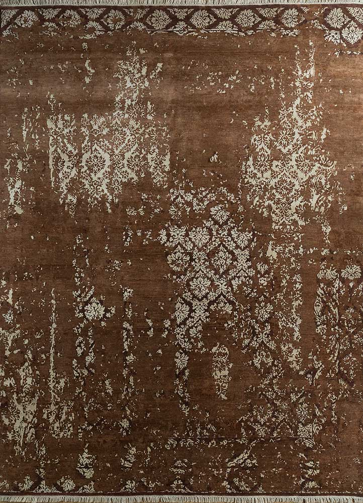 far east beige and brown wool and bamboo silk hand knotted Rug - HeadShot