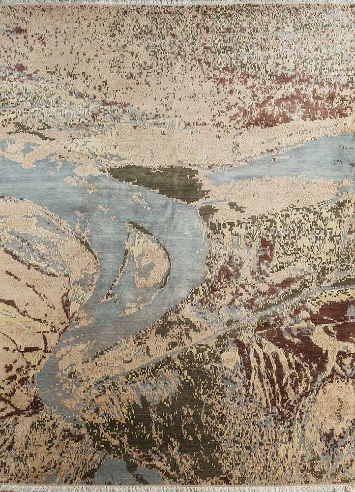 pansy gold wool and bamboo silk hand knotted Rug - HeadShot