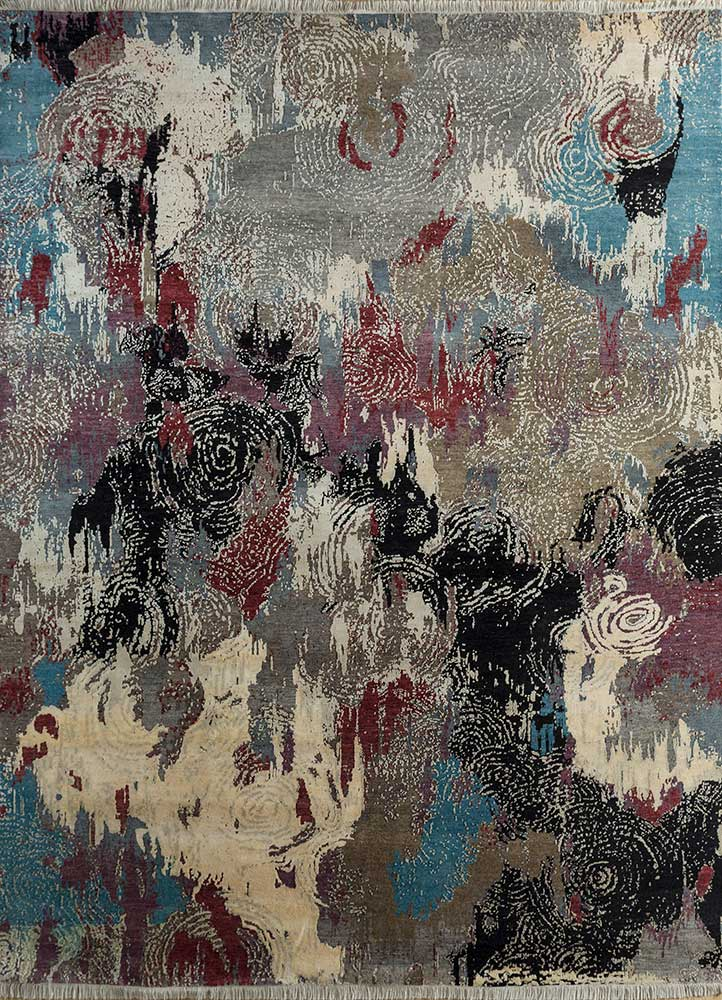 pansy ivory wool and bamboo silk hand knotted Rug - HeadShot