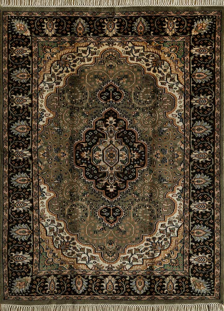 biscayne grey and black wool hand knotted Rug - HeadShot