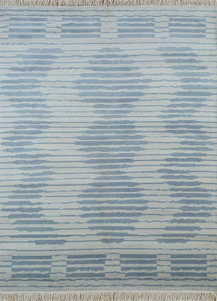 erbe blue wool hand knotted Rug - HeadShot