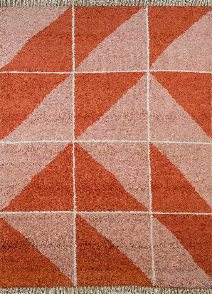 cleo red and orange wool hand knotted Rug - HeadShot