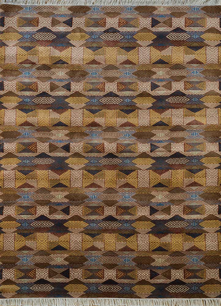 SKWL-162 Bronze Brown/Sunflower beige and brown wool hand knotted Rug