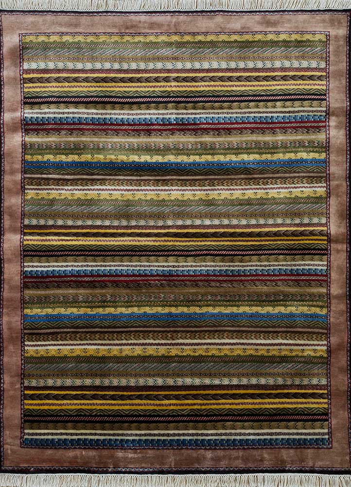 SKWL-163 Vibrant Yellow/Rose Petal gold wool hand knotted Rug