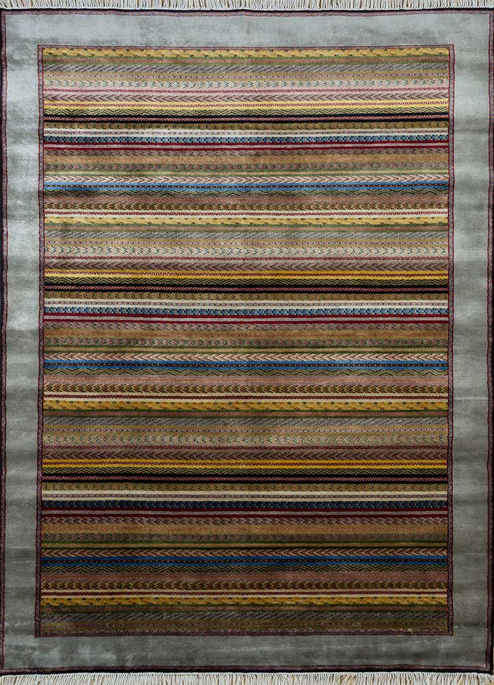 SKWL-163 Vibrant Yellow/Medium Gray gold wool hand knotted Rug