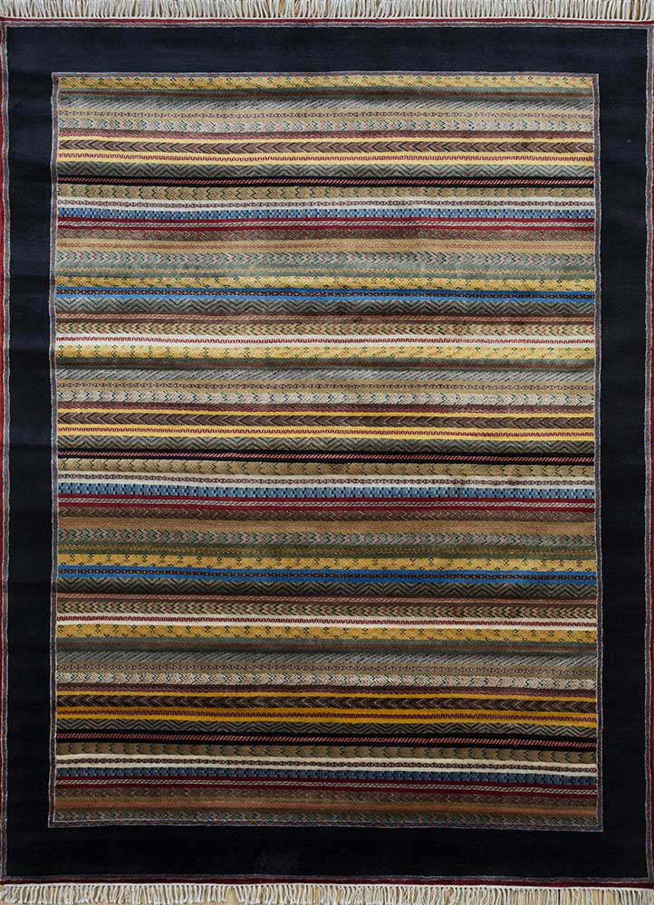 SKWL-163 Vibrant Yellow/Ebony gold wool hand knotted Rug