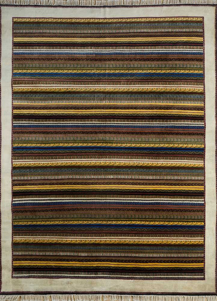 SKWL-163 Vibrant Yellow/Cloud White gold wool hand knotted Rug