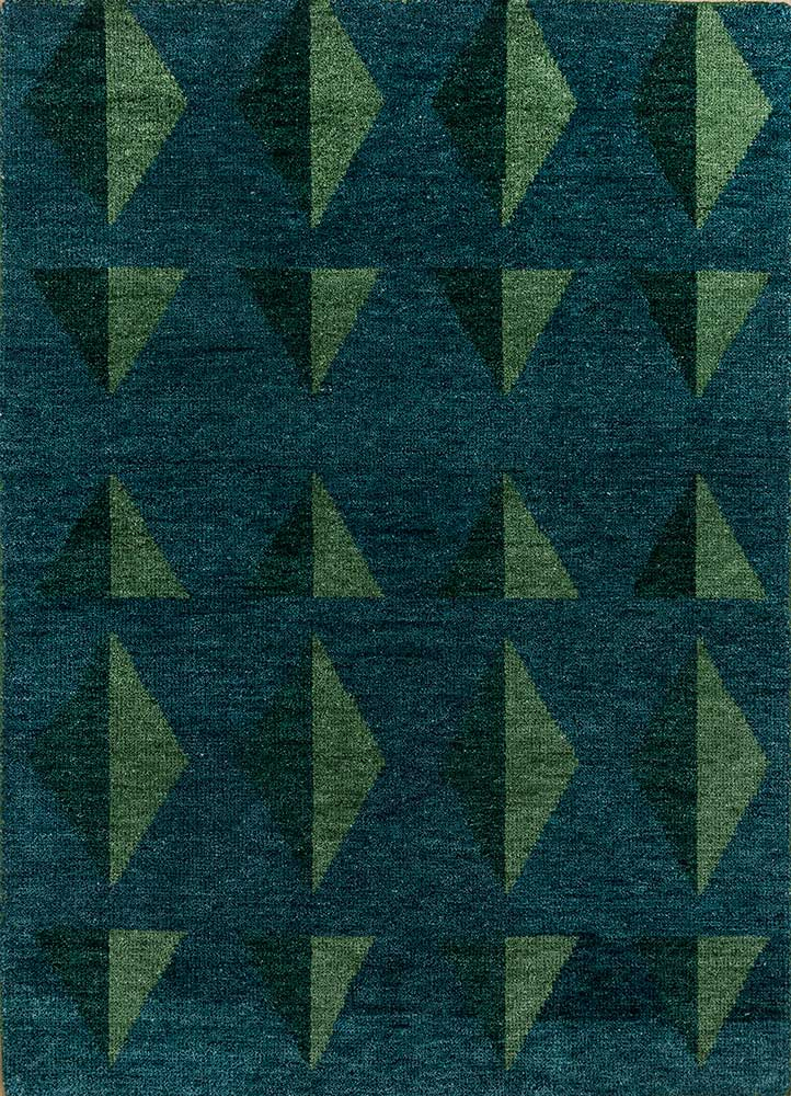 cleo blue wool hand knotted Rug - HeadShot