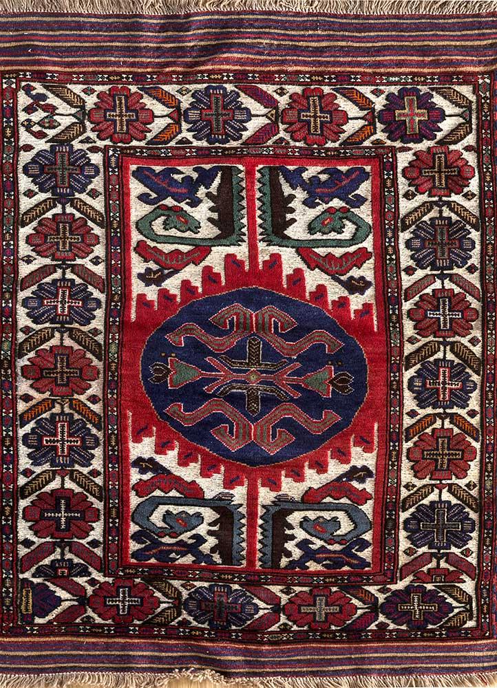 kiaan red and orange wool hand knotted Rug - HeadShot