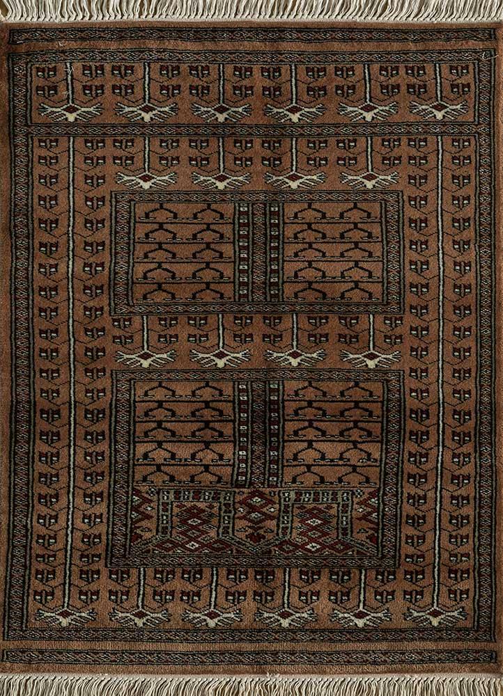 kiaan beige and brown wool hand knotted Rug - HeadShot