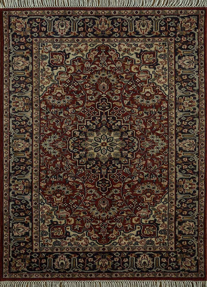 biscayne blue wool hand knotted Rug - HeadShot