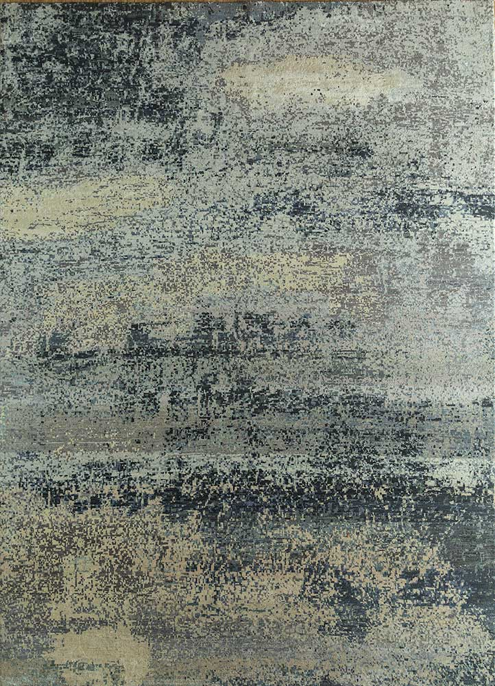 memoir grey and black wool and silk hand knotted Rug - HeadShot