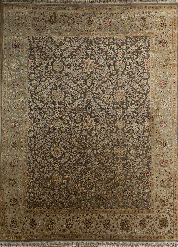 aurora beige and brown wool and silk hand knotted Rug - HeadShot