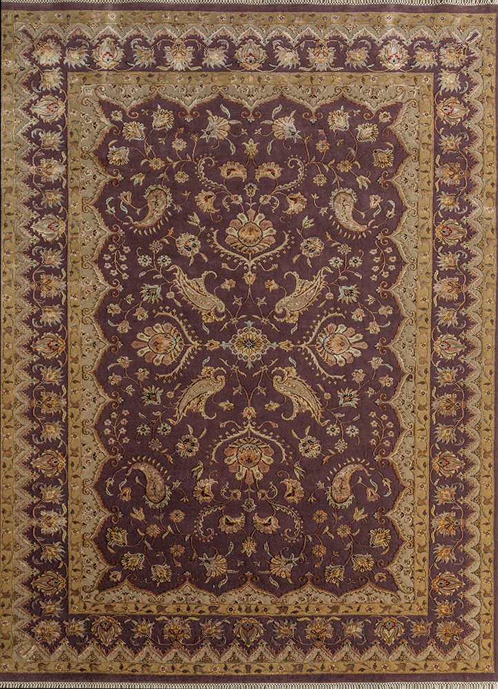aurora pink and purple wool and silk hand knotted Rug - HeadShot