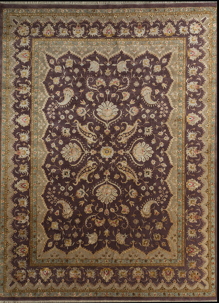 SKWS-63 Sand/Beige gold wool and silk hand knotted Rug