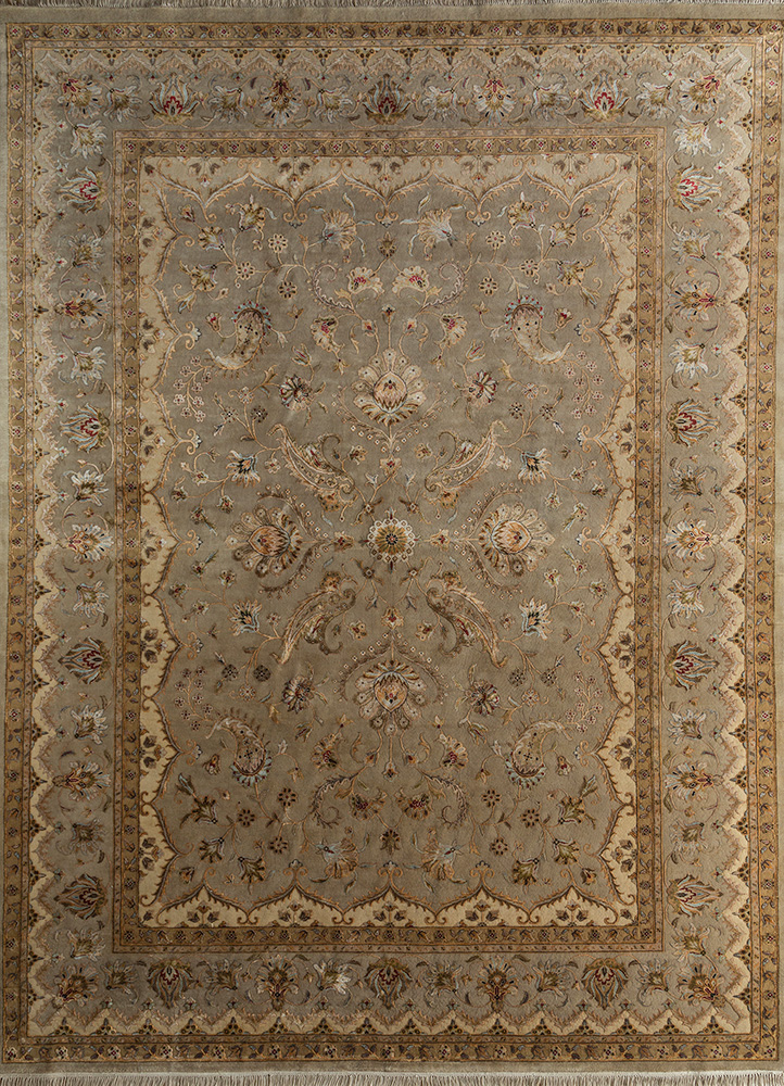 SKWS-63 Beige/Beige beige and brown wool and silk hand knotted Rug