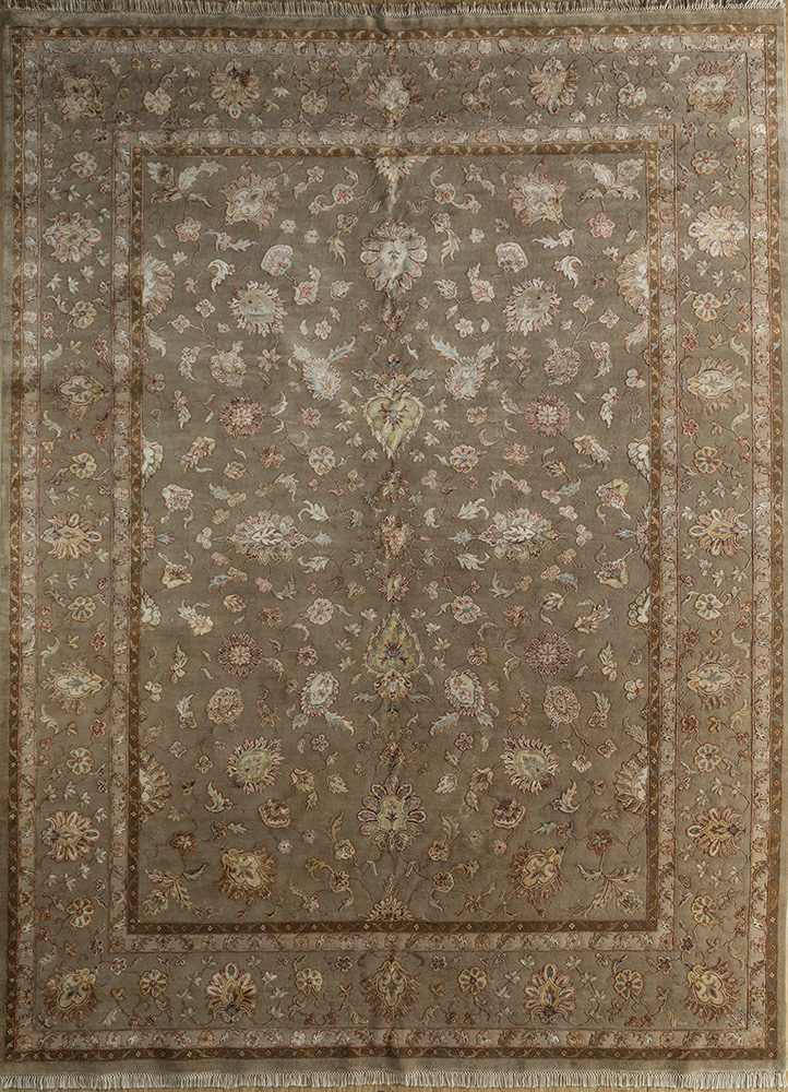 SKWS-67 Light Gray/Light Gray grey and black wool and silk hand knotted Rug