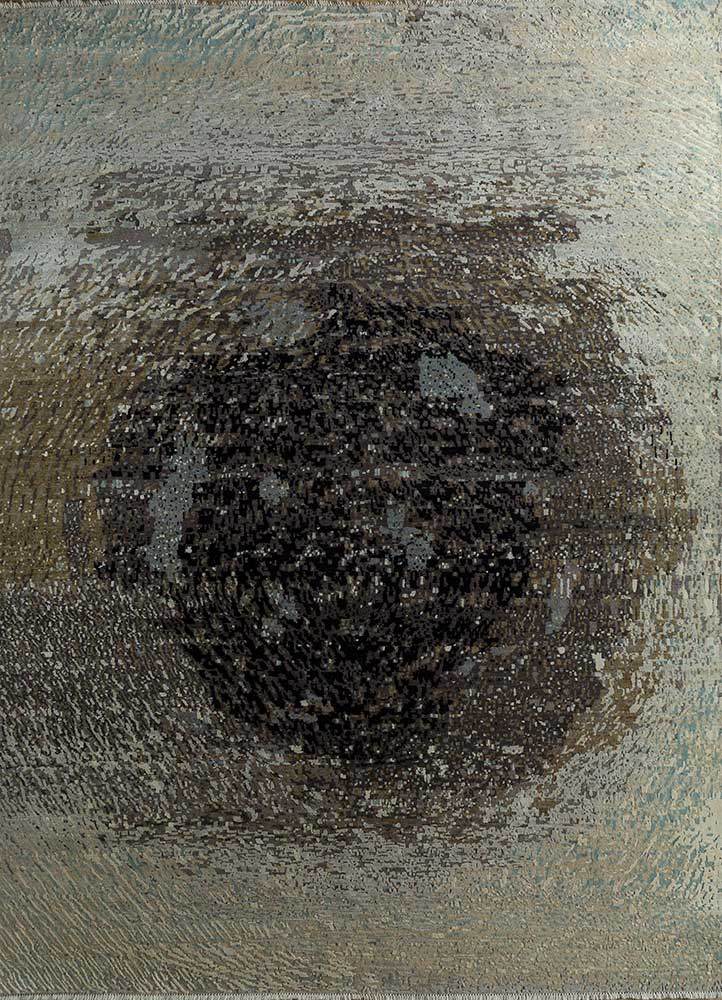 pansy grey and black wool and silk hand knotted Rug - HeadShot