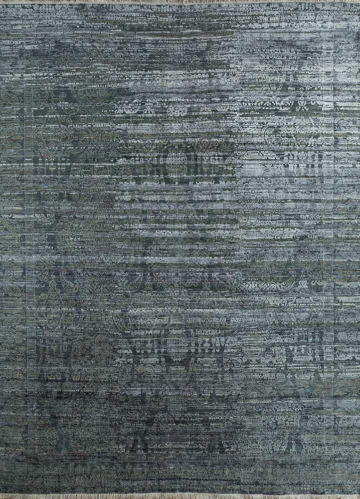 viscaya grey and black wool and silk hand knotted Rug - HeadShot