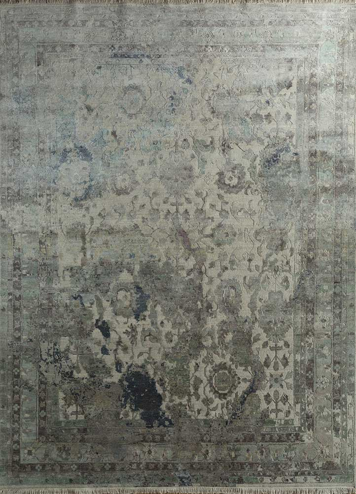 far east ivory wool and silk hand knotted Rug - HeadShot
