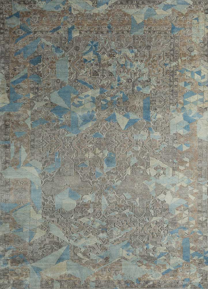 far east grey and black wool and silk hand knotted Rug - HeadShot