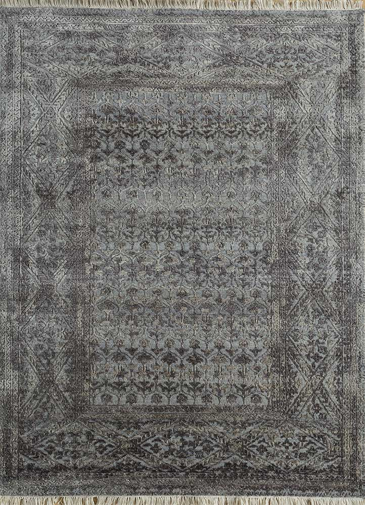 far east blue wool and silk hand knotted Rug - HeadShot