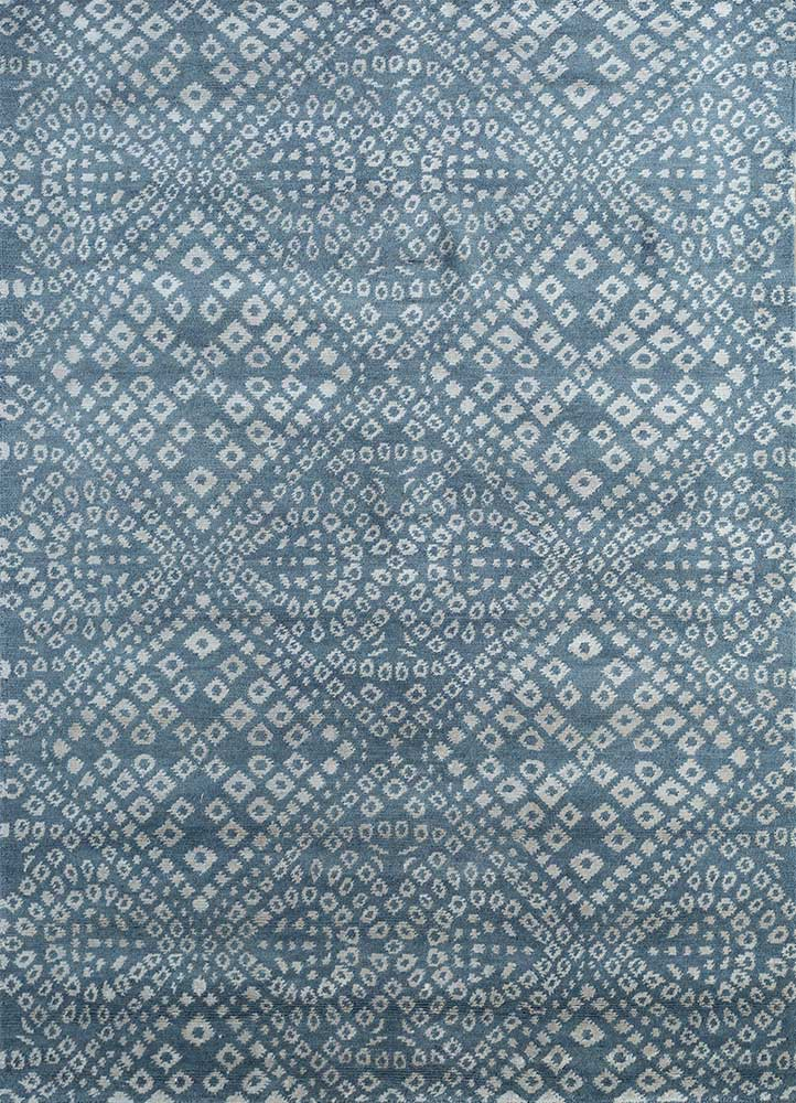 eden blue wool and viscose hand knotted Rug - HeadShot