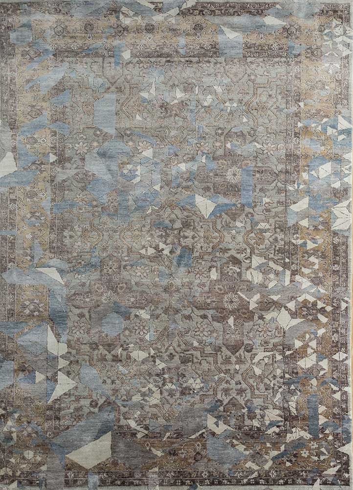 far east pink and purple wool and viscose hand knotted Rug - HeadShot