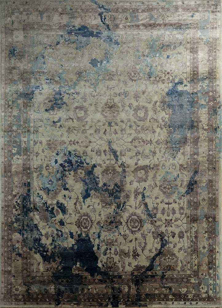 far east ivory wool and viscose hand knotted Rug - HeadShot