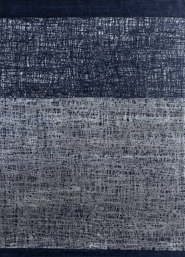 free verse by kavi blue wool and silk hand knotted Rug - HeadShot