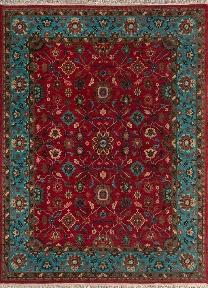 biscayne red and orange wool hand knotted Rug - HeadShot