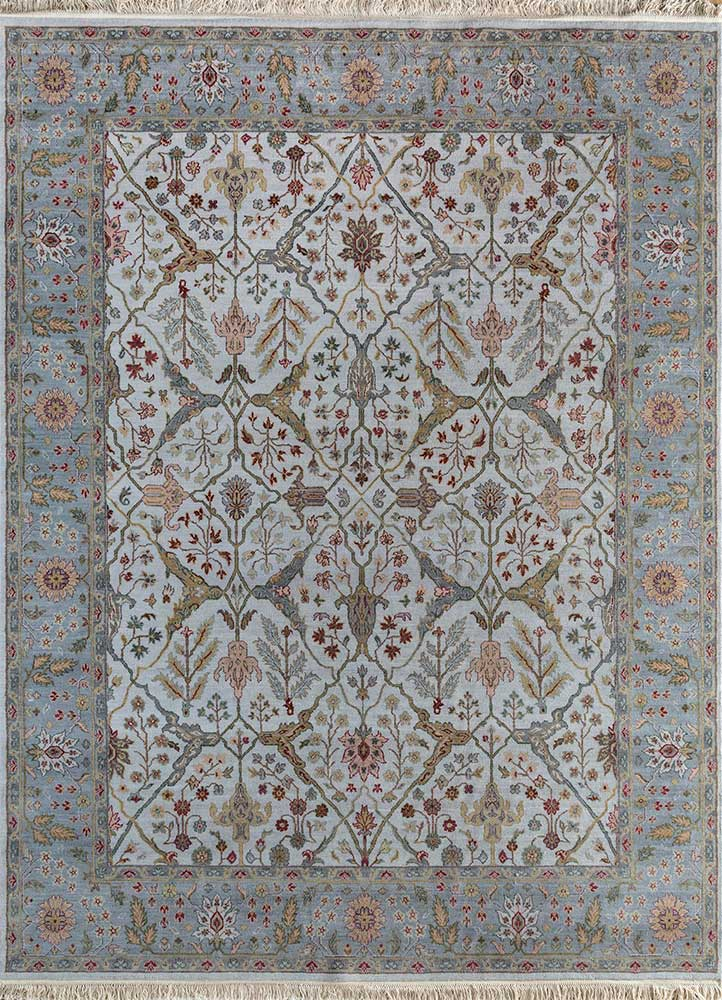 SPR-28 Blue Blush/Pearl Blue blue wool hand knotted Rug