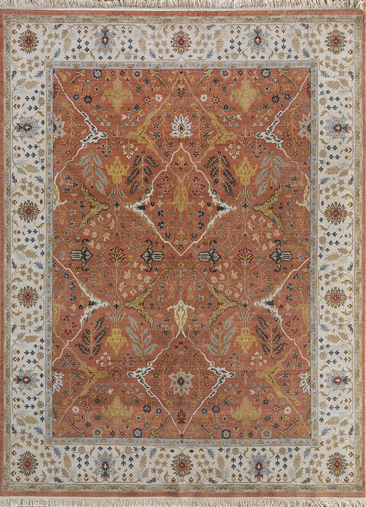 SPR-28 Copper Tan/Antique White red and orange wool hand knotted Rug