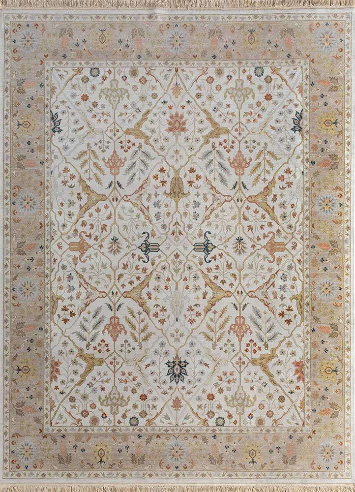 SPR-28 White/Silky Beige ivory wool hand knotted Rug