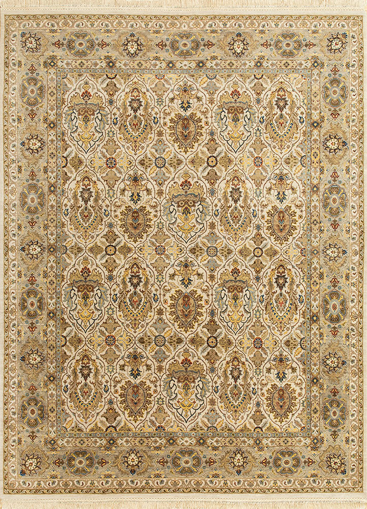 SPR-41 Antique White/Silver ivory wool hand knotted Rug