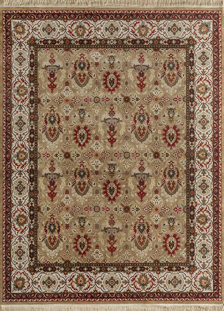 biscayne beige and brown wool hand knotted Rug - HeadShot