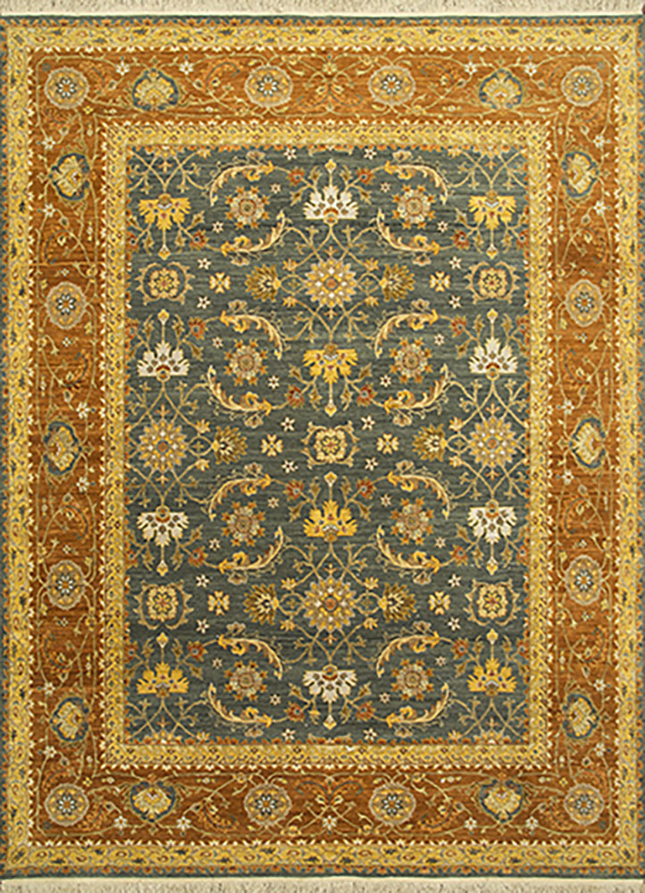 biscayne green wool hand knotted Rug - HeadShot