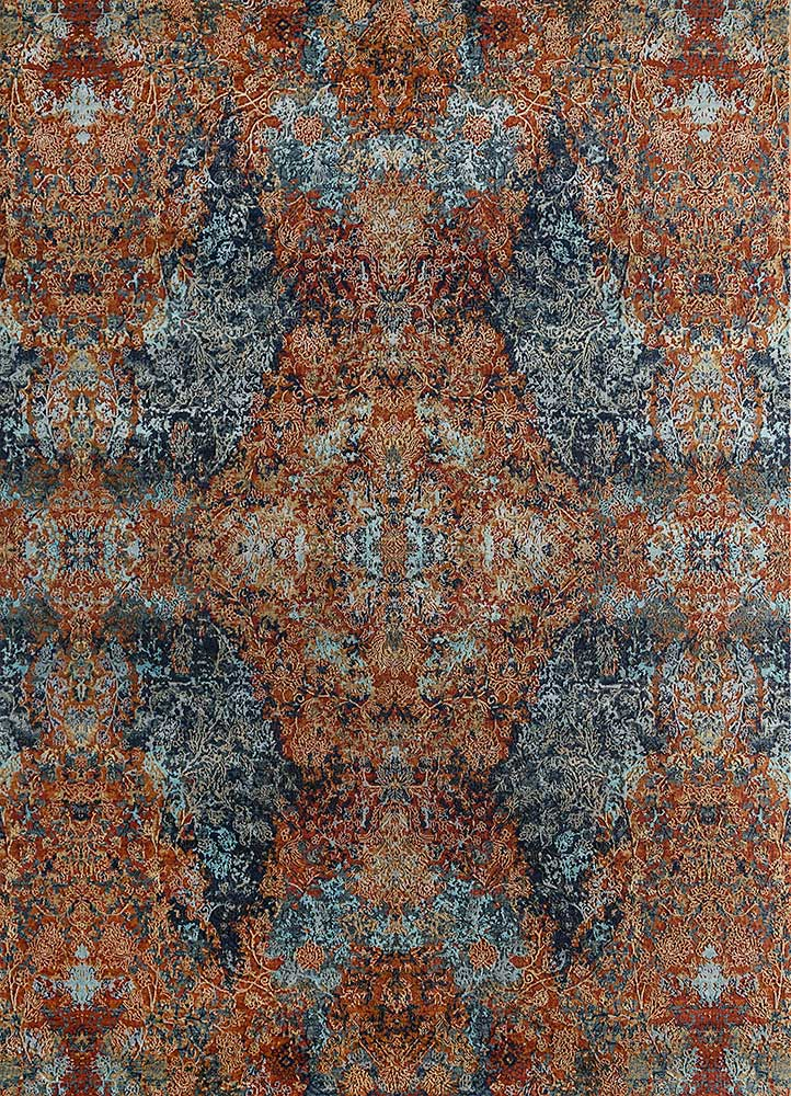 blithe red and orange wool and bamboo silk hand knotted Rug - HeadShot