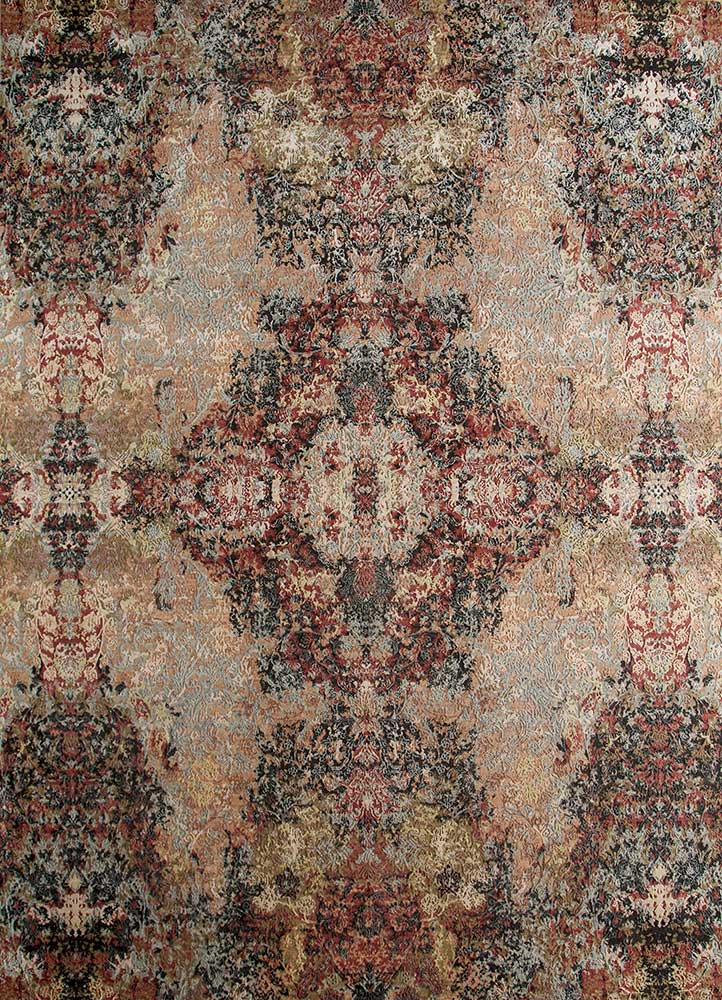 blithe blue wool and bamboo silk hand knotted Rug - HeadShot