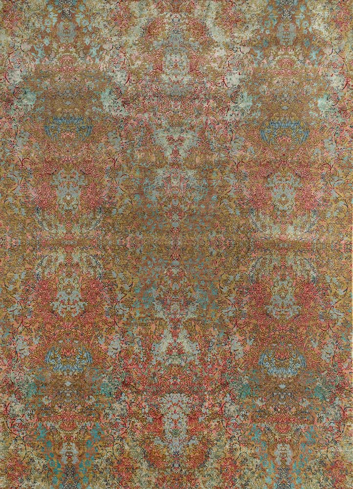 SRB-155 Marigold/Light Coffee gold wool and bamboo silk hand knotted Rug