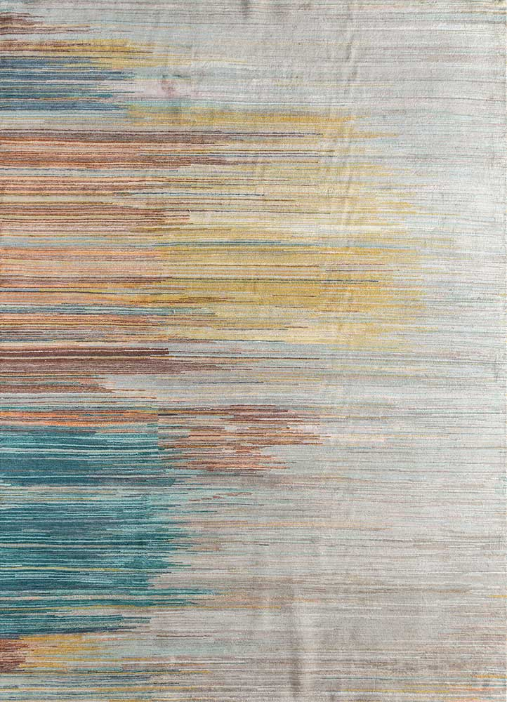 hidden by kavi ivory wool and bamboo silk hand knotted Rug - HeadShot