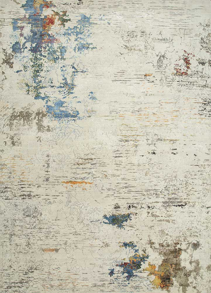 SRB-702 Antique White/Ocean Blue ivory wool and bamboo silk hand knotted Rug