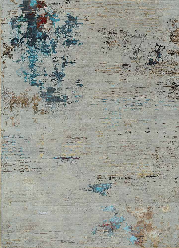 SRB-702 Classic Gray/Frost Gray grey and black wool and bamboo silk hand knotted Rug