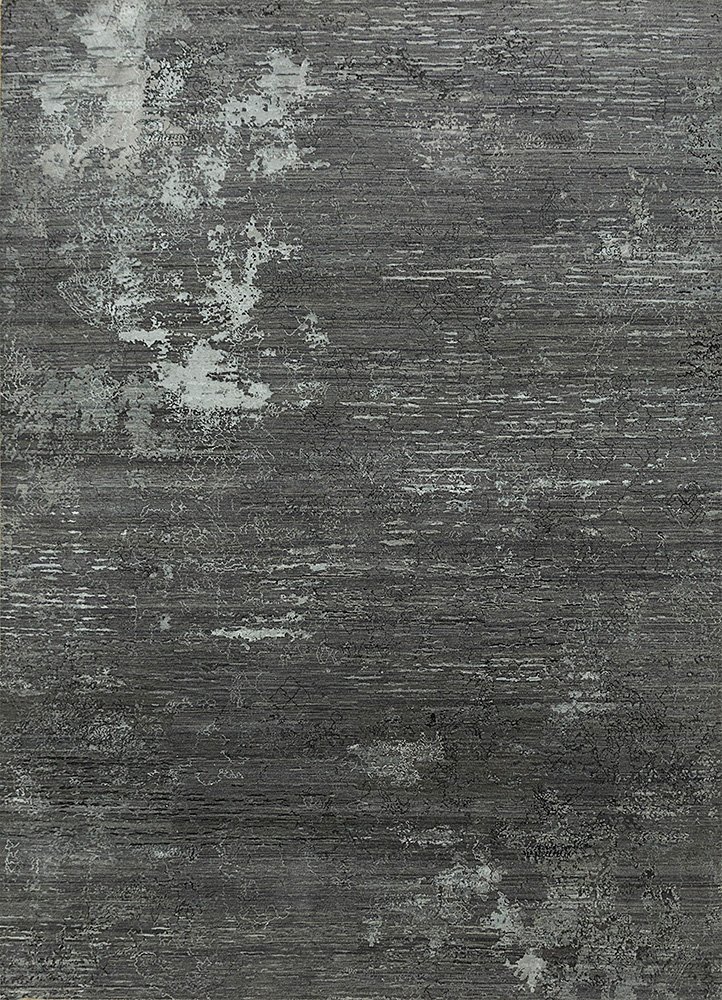 SRB-702 Frost Gray/Medium Gray grey and black wool and bamboo silk hand knotted Rug