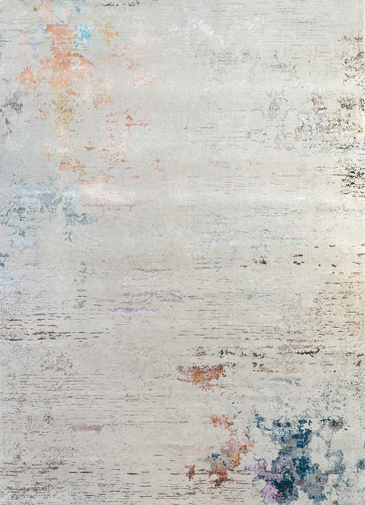 unstring by kavi ivory wool and bamboo silk hand knotted Rug - HeadShot