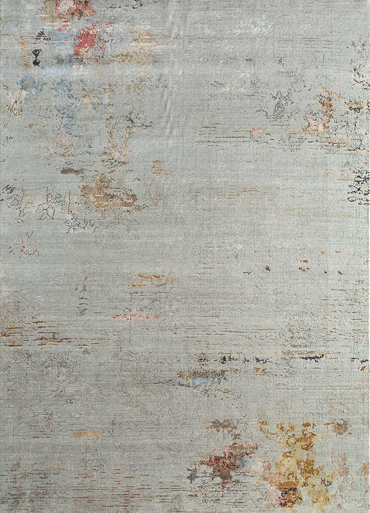 SRB-702 Classic Gray/Honey grey and black wool and bamboo silk hand knotted Rug