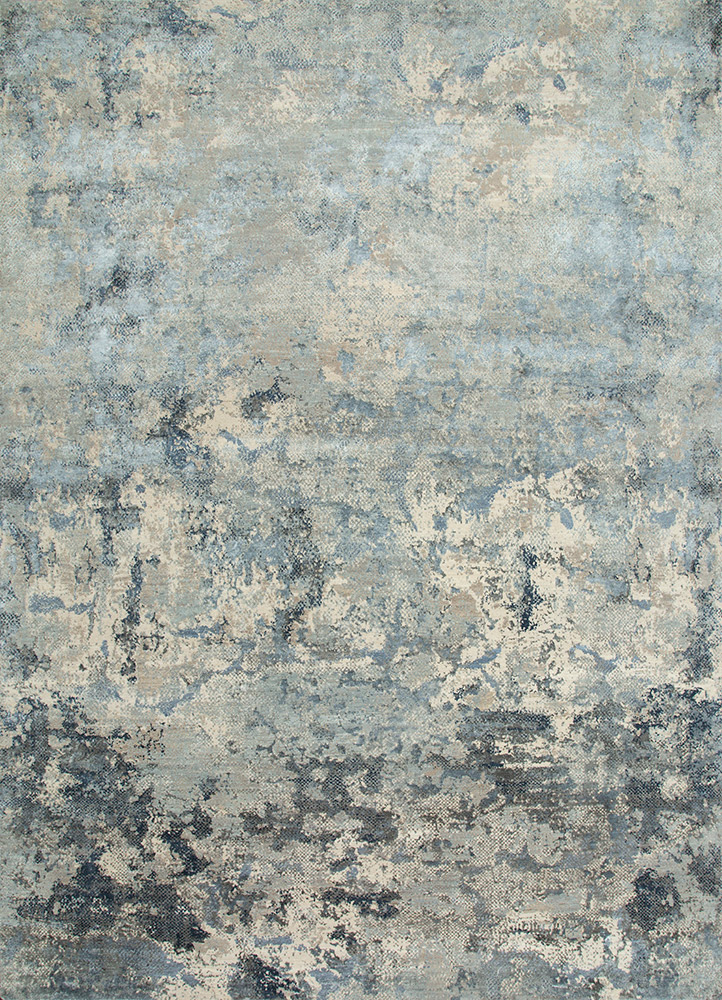 SRB-705 Antique White/Pearl Blue ivory wool and bamboo silk hand knotted Rug