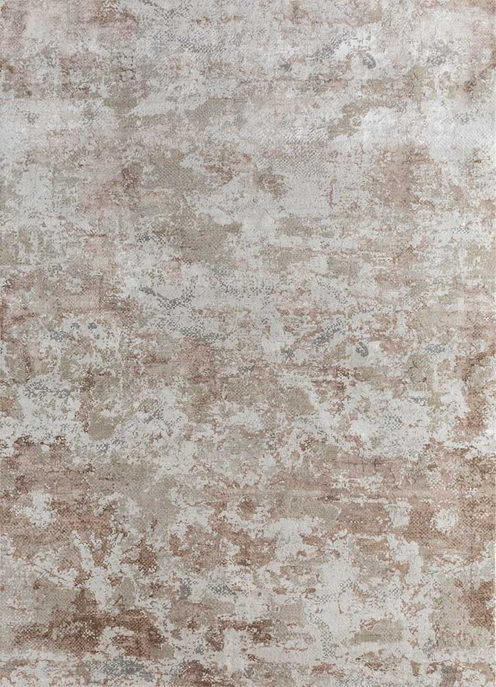 SRB-705 White/Ivory ivory wool and bamboo silk hand knotted Rug