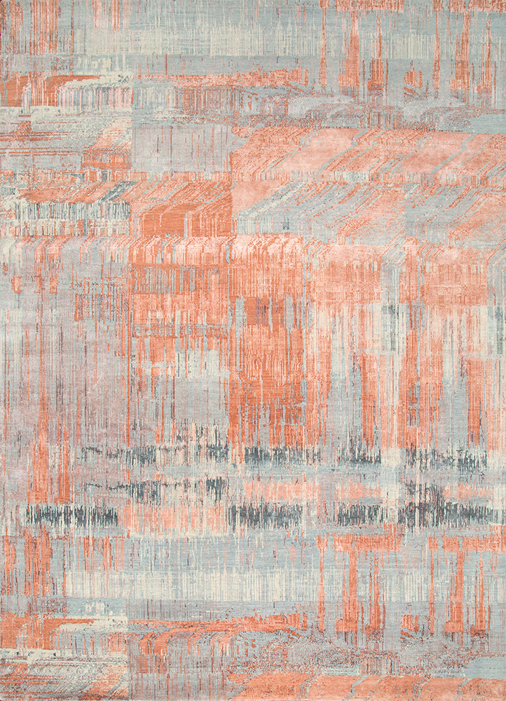 SRB-709 Copper Tan/Pearl Blue red and orange wool and bamboo silk hand knotted Rug